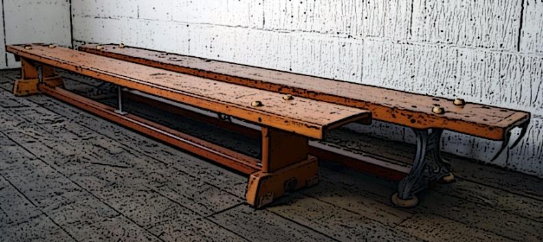 Vintage+school+gym+bench+metal+ends+5
