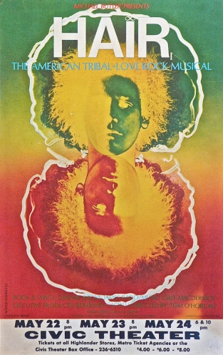 1968 Poster for 'Hair' the musical. Photograph by Ruspoli-Rodriguez